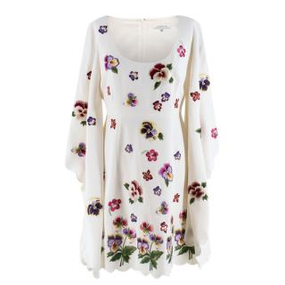 Andrew GN Floral Embroidered Scoop Neck Dress