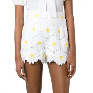 Dolce & Gabbana White Daisy Applique Shorts