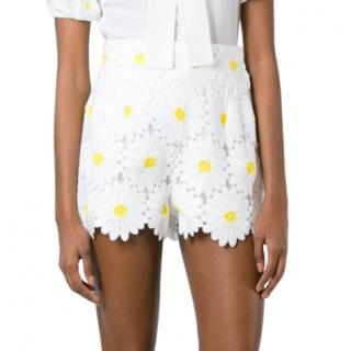 Dolce & Gabbana White Daisy Applique Shorts