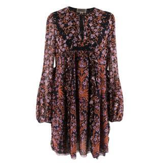 Giambattista Valli Black Floral Silk Mini-Dress