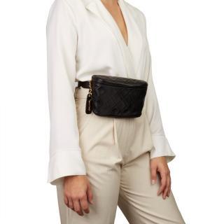 Chanel Vintage Black Timeless Quilted Belt Bag