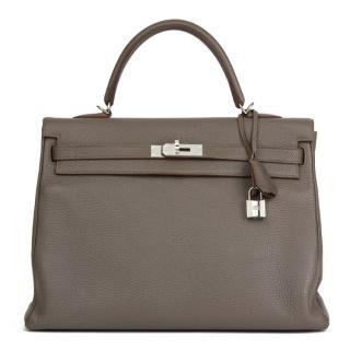 Hermes Togo Leather Etain Retourne Kelly Bag