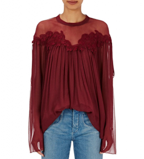 Chloe Bordeaux Embroidered Lace Silk Blouse