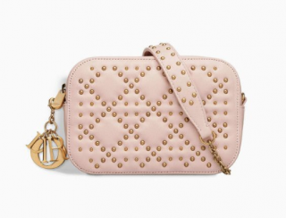 Dior Pink Cannage Leather Studded Camera Bag