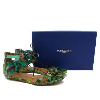 Aquazzura Beverly Hills Snakeskin Sandals in Green