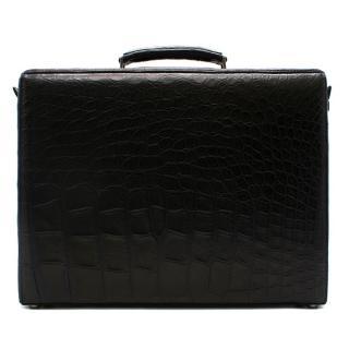 Ermenegildo Zegna Couture Black Alligator Briefcase