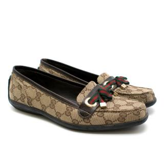 Gucci Monogram Web Bow Loafers
