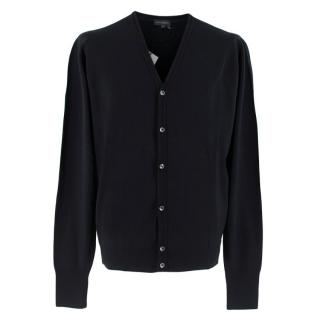 John Smedley Black Merino Wool Cardigan