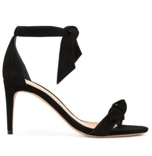 Alexandre Birman Black Suede Clarita Ankle Tie Sandals