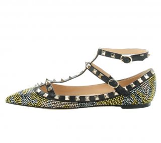 Valentino Camo Crystal Embellished Rockstud Flats