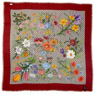 Gucci Monogram Floral Scarf W/ Red Trim