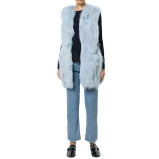 Dondup Blue Fox Fur Jacket