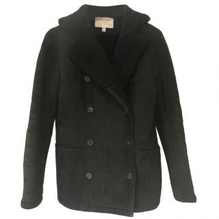 Frame Black Suede Shearling Coat