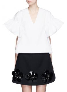 Victoria Beckham Oversize Silk Blend Ruffle Top