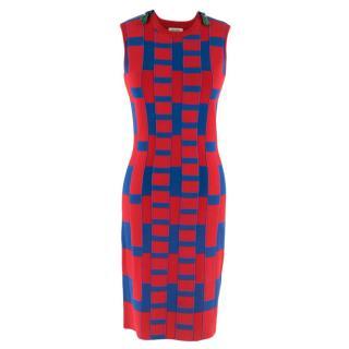 Kenzo Blue and Red Silk Knit Bandage Dress