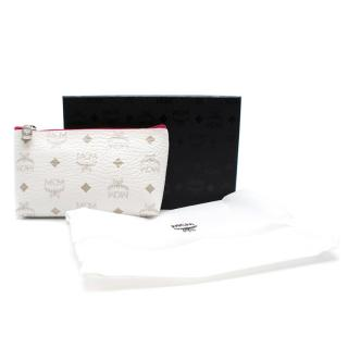 MCM White Canvas Monogram Zip Pouch