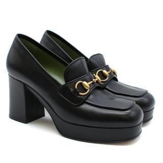 Gucci Horsebit-detailed Black leather platform loafers