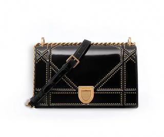 Dior Studded Black Glazed Calfskin Diorama Bag