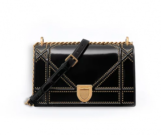 Dior Studded Black Glazed Calfskin Diorama Bag