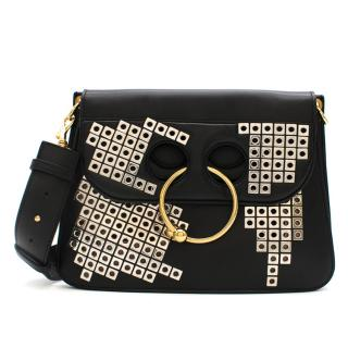 J.W.Anderson Black Embellished Leather Pierce Bag