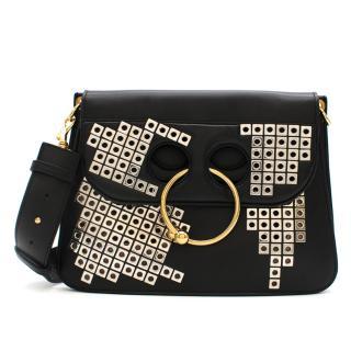 J.W.Anderson Black Embellished Leather Pierce Bag