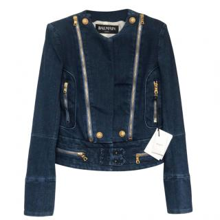 Balmain Embossed Denim Biker Jacket