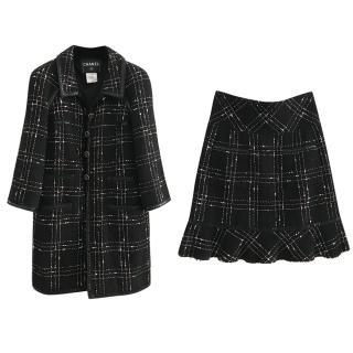 Chanel Black Boucle Tweed Skirt Suit