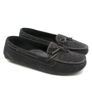 Bottega Veneta Dark Grey Intreciatto Suede Loafers