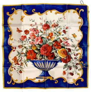 Dolce & Gabbana Sicily Maiolica floral vase twill scarf.
