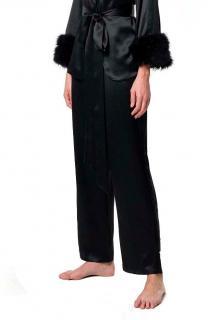 Maguy de Chadirac Black Silk Marabou Feather Trim Pyjamas