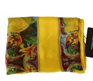 Dolce & Gabbana lemon printed silk Sicliy Majolica scarf/shawl/wrap