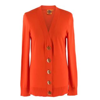 Tory Burch Orange V-Neck Cardigan