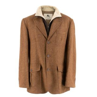 Burberry Brown Wool Blazer with Inner Fleece Jacket
