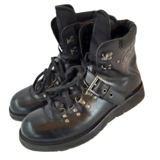 Prada black leather lace up boots