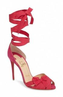 Christian Louboutin pink suede and grosgrain heeled sandals