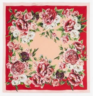 Dolce & Gabbana rose print silk scarf/wrap