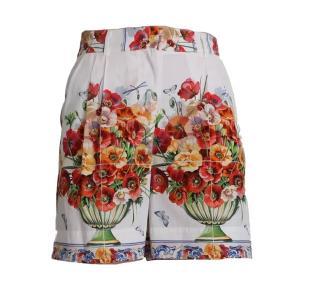 Dolce & Gabbana White Sicily Maiolica floral vase cotton shorts