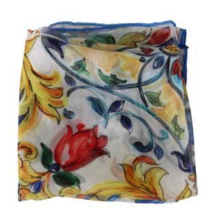 Dolce & Gabbana Silk Sicily Maiolica floral vase twill scarf.