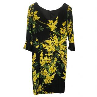 Dolce & Gabbana Yellow Floral Midi Dress