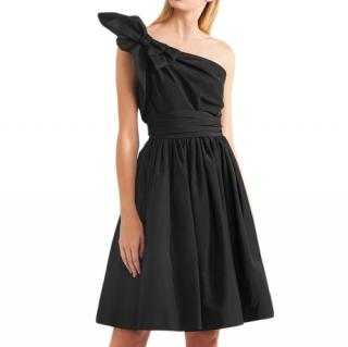 Prada one-shoulder bow-embellished silk-faille dress