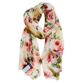 Dolce & Gabbana Blush Rose Print Silk Scarf