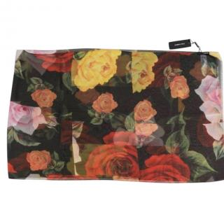 Dolce & Gabbana Painted Roses Silk Scarf