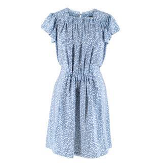 Balenciaga Silk Blue & White Printed Dress