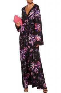 Emilio Pucci gathered floral-print silk-satin gown
