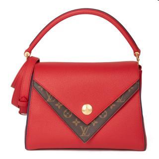 Louis Vuitton Monogram & Red Calfskin Canvas Double V Tote Bag