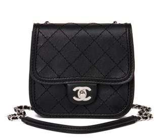 Chanel Black Diamond Stitch Leather Mini Citizen Flap Bag