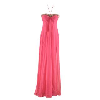 Temperley Pink Silk Embellished Halterneck Dress