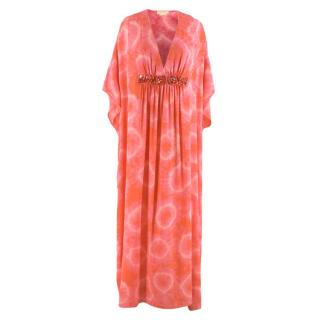 Michael Kors Collection Pink Silk Tie Dye Kaftan