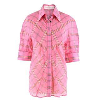 Victoria Victoria Beckham Checked cotton & silk-blend shirt