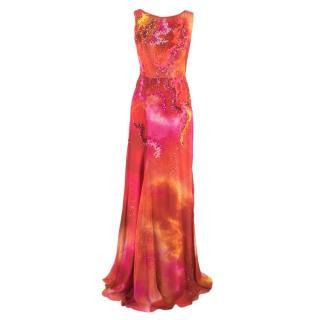 Matthew Williamson Silk Georgette Backless Column Gown